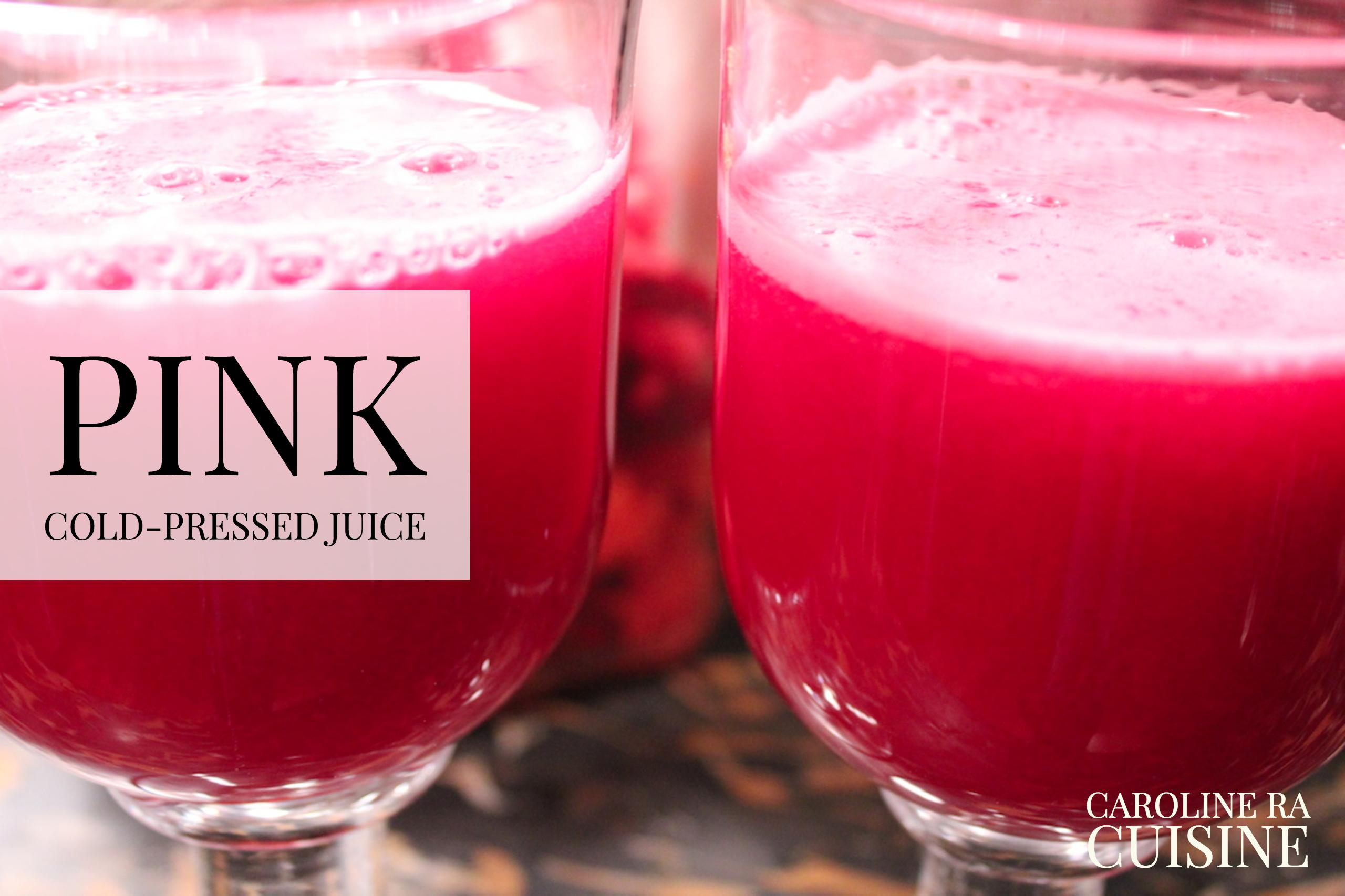Two Glasses of Pink Cold-Pressed Juice